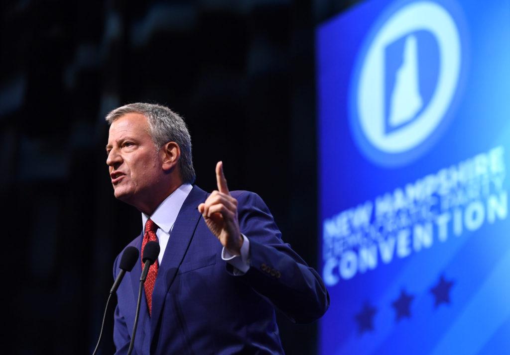 Former Democratic 2020 U.S. presidential candidate and New York Mayor Bill de Blasio addresses the New Hampshire Democrati...