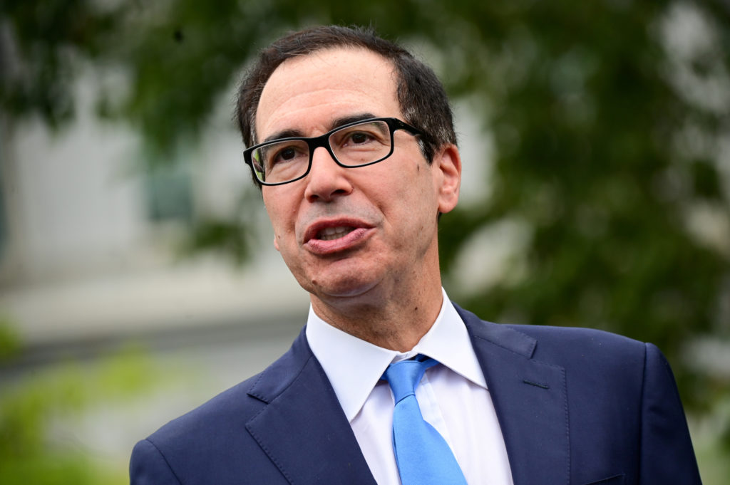 U.S. Treasury Secretary Steve Mnuchin speaks to reporters outside the White House in Washington, on September 9, 2019. Photo by Erin Scott/Reuters