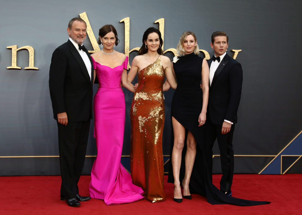 "Actors Hugh Bonneville, Elizabeth McGovern, Michelle Dockery, Laura Carmichael and Allen Leech attend the world premiere of ""Downton Abbey"" in London, Britain September 9, 2019. Photo by Simon Dawson/Reuters"