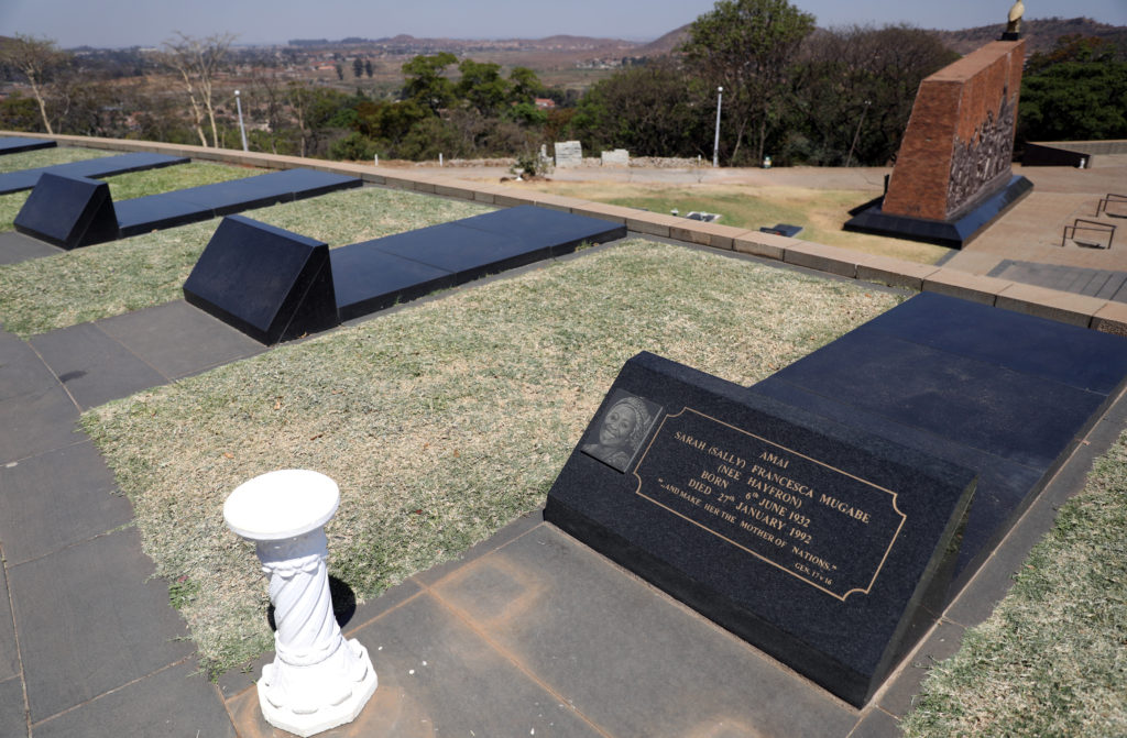 "The grave of Sarah Francesca ""Sally"" Mugabe, the first wife of Robert Mugabe is seen next to two un-occupied graves at the National Heroes Acre in Harare, Zimbabwe on September 10, 2019. Photo by Siphiwe Sibeko/Reuters"