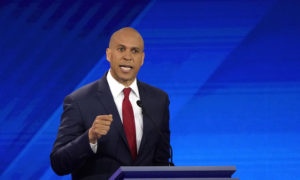 Senator Cory Booker speaks during the 2020 Democratic U.S. presidential debate in Houston, Texas, U.S. September 12, 2019. Photo by Mike Blake/Reuters