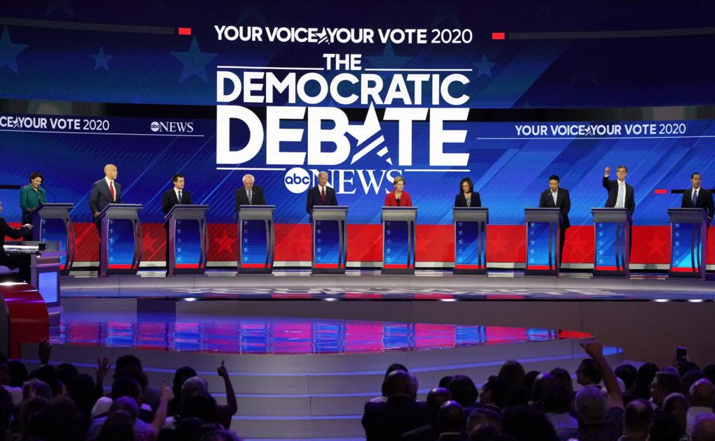 Democratic U.S. presidential candidates Senator Amy Klobuchar, Sena…