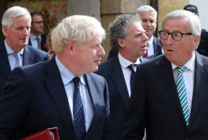 British Prime Minister Boris Johnson, European Commission President Jean-Claude Juncker and European Union's chief Brexit negotiator Michel Barnier leave after their meeting in Luxembourg, September 16, 2019. Photo by Yves Herman/Reuters