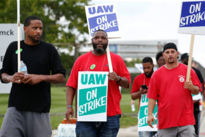 General Motors assembly workers picket outside the General Motors Detroit-Hamtramck Assembly plant during the United Auto Workers (UAW) national strike in Hamtramck, Michigan, on September 16, 2019. Photo by Rebecca Cook/Reuters
