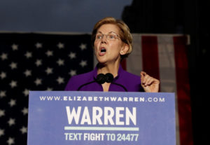 U.S. Senator and democratic presidential candidate Elizabeth Warren speaks at Washington Square Park in New York, New York, U.S. September 16, 2019. Photo by Shannon Stapleton/Reuters
