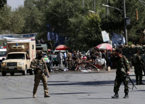 Afghan security forces inspect the site of a blast in Kabul, Afghanistan on September 17, 2019. Photo by Omar Sobhani/Reuters