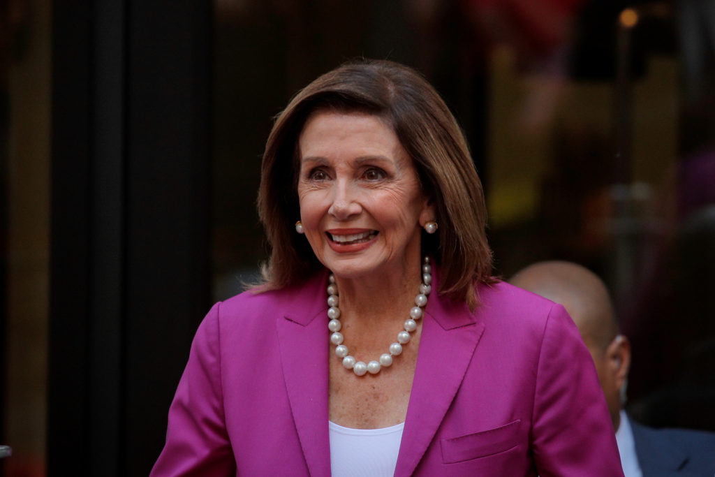 U.S. House Speaker Nancy Pelosi (D-CA) exits following an interview with CNBC at the New York Stock Exchange (NYSE) in New York, on September 17, 2019. Photo by Brendan McDermid/Reuters