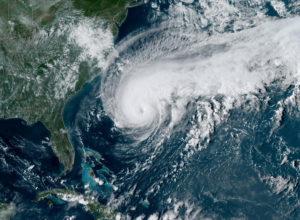 A satellite image of Hurricane Humberto, west of Bermuda, U.S., September 17, 2019. Photo courtesy: NOAA/Handout via Reuters