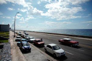 Cars line up for gas at the seafront Malecon in Havana, Cuba, September 17, 2019. Photo by Alexandre Meneghini/Reuters