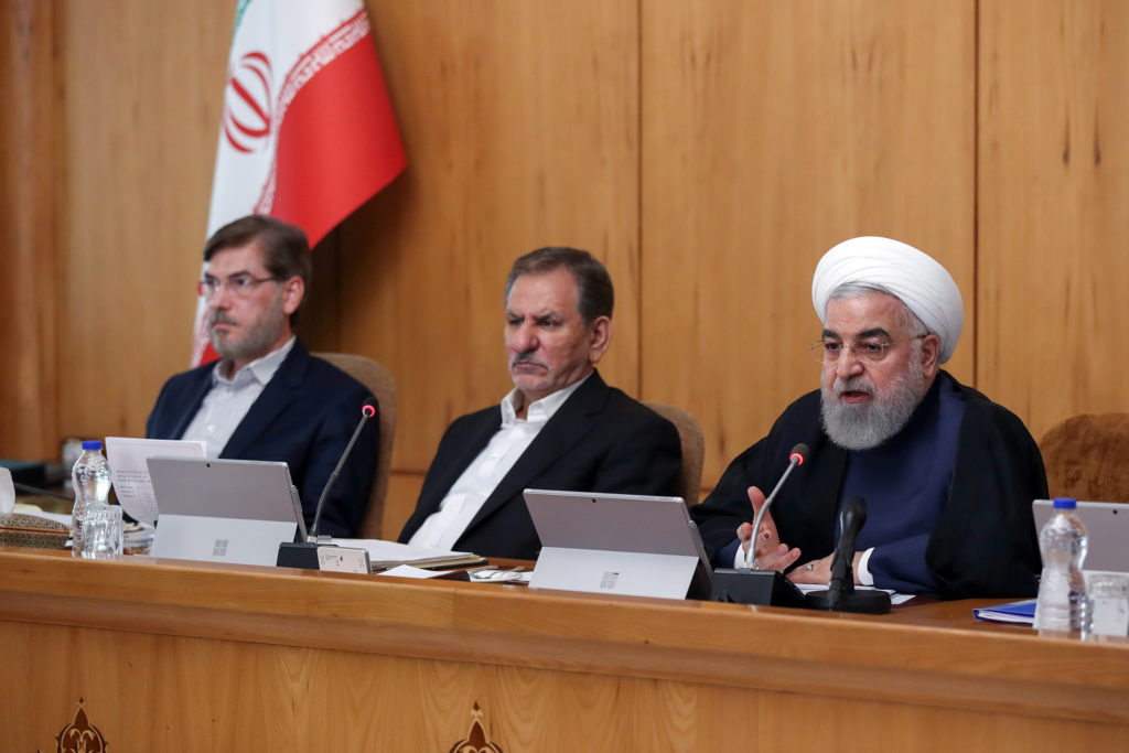 Iranian President Hassan Rouhani speaks during the cabinet meeting …