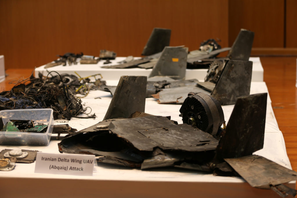 Remains of the missiles which Saudi government says were used to attack an Aramco oil facility, are displayed during a news conference in Riyadh, Saudi Arabia September 18, 2019. REUTERS/Hamad I Mohammed