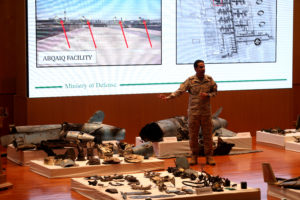Saudi defence ministry spokesman Colonel Turki Al-Malik displays remains of the missiles which Saudi government says were used to attack an Aramco oil facility, during a news conference in Riyadh, Saudi Arabia September 18, 2019. Photo by Hamad I Mohammed/Reuters