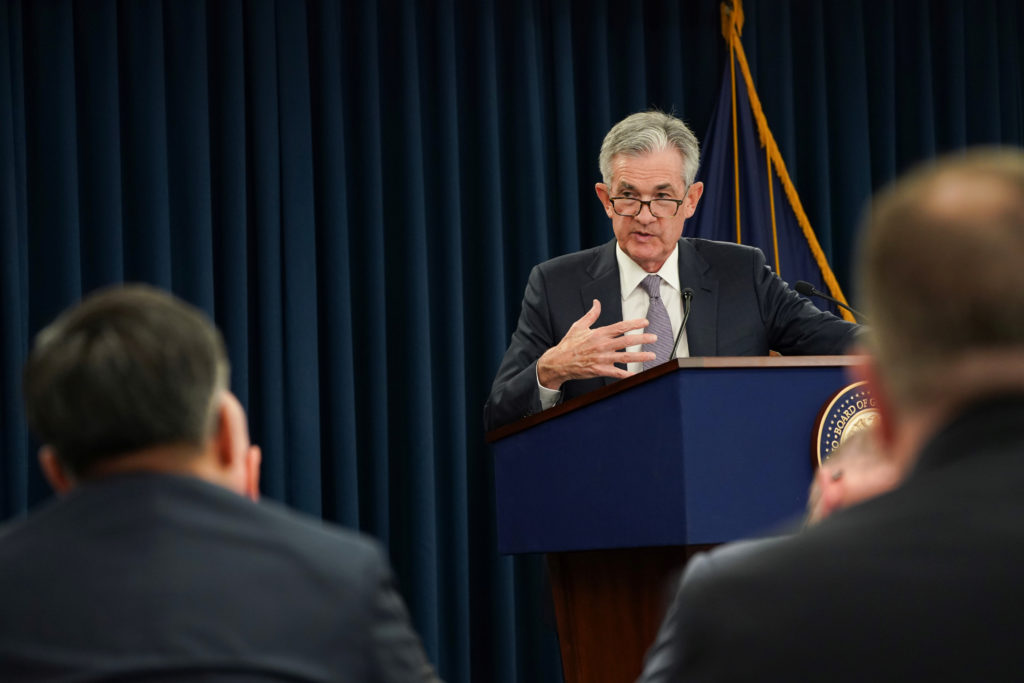Federal Reserve Chairman Jerome Powell holds a news conference following a closed two-day Federal Open Market Committee me...