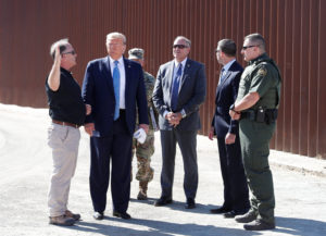 FILE PHOTO: U.S. President Donald Trump visits a section of the U.S.-Mexico border wall in Otay Mesa, California, September 18, 2019. Photo by Tom Brenner/Reuters