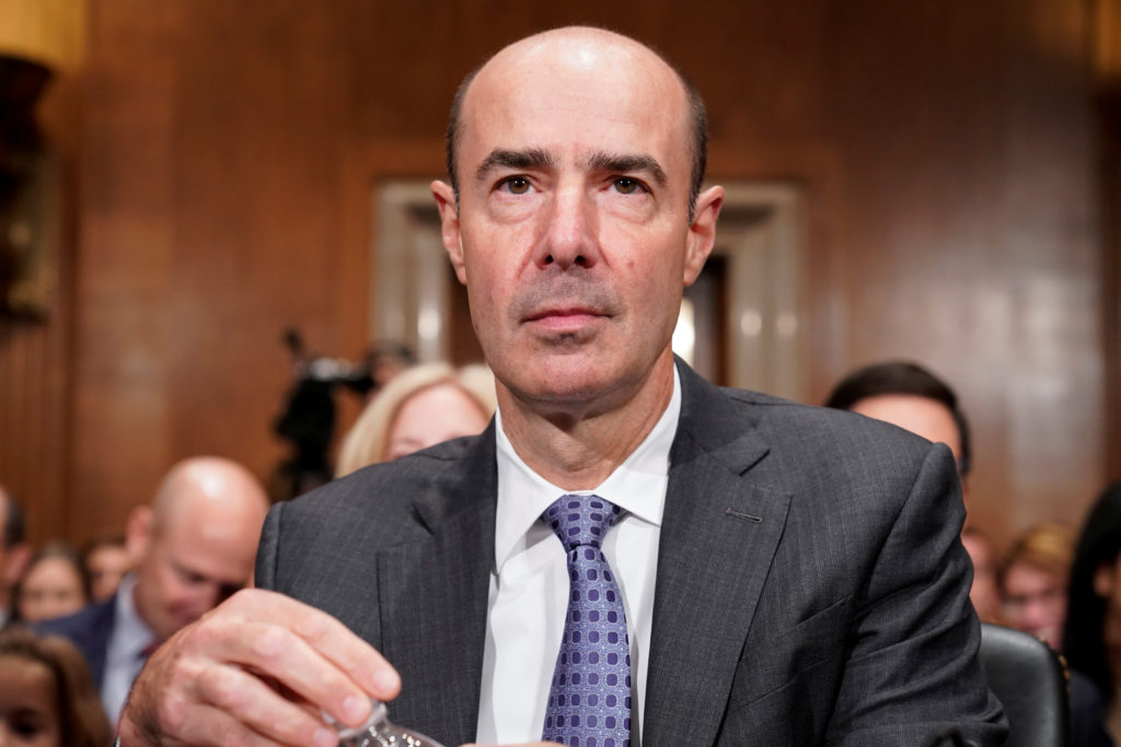 Eugene Scalia arrives to testify before the Senate Committee on Health, Education, Labor and Pensions on his nomination to be secretary of Labor on Capitol Hill in Washington, September 19, 2019. Photo by Joshua Roberts/Reuters