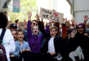 Young protestors march as part of the Global Climate Strike of the movement Fridays for Future in Vienna, Austria, September 20, 2019. Photo by Lisi Niesner/Reuters