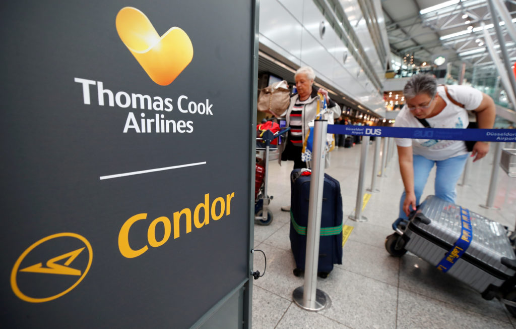 The Thomas Cook Airlines logo is seen at Duesseldorf Airport, Germany September 23, 2019. Photo by Wolfgang Rattay/Reuters