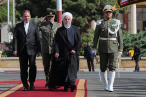 Iranian President Hassan Rouhani walks during a farewell ceremony before leaving for New York, in Tehran, Iran September 23, 2019. Official Iranian Photo courtesy: President website/Handout via Reuters
