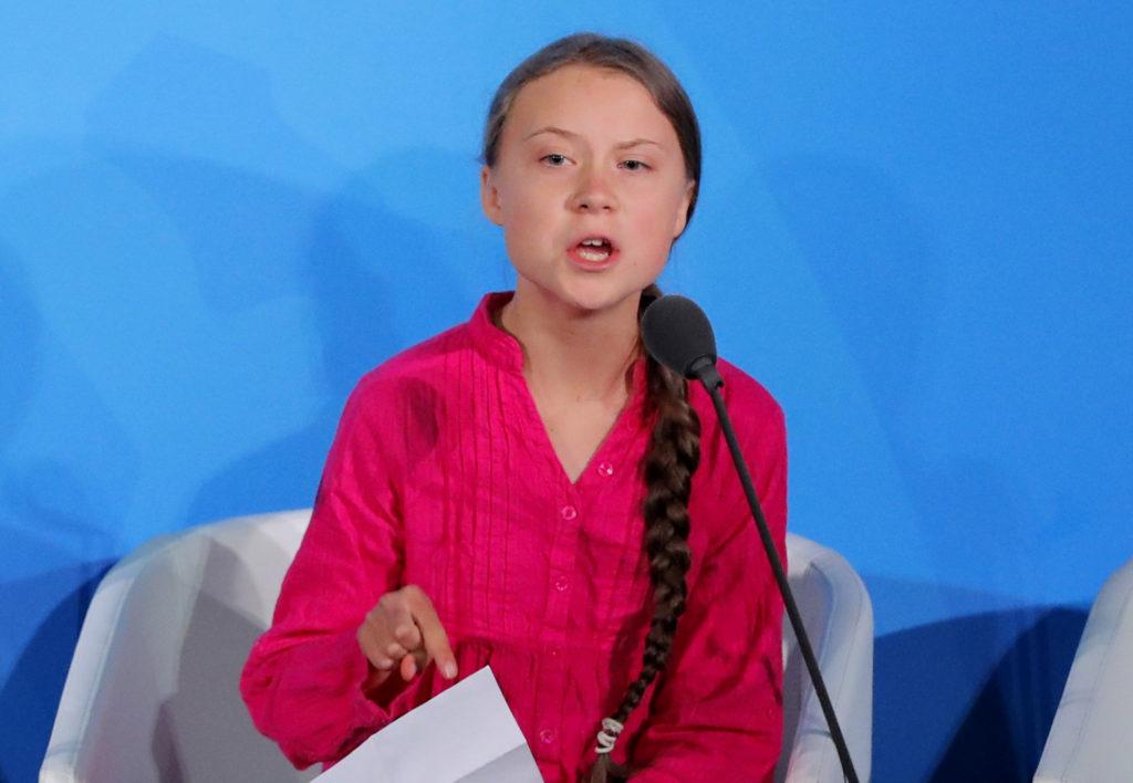 16-year-old Swedish Climate activist Greta Thunberg speaks at the 2019 United Nations Climate Action Summit at U.N. headqu...