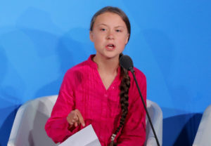 16-year-old Swedish Climate activist Greta Thunberg speaks at the 2019 United Nations Climate Action Summit at U.N. headquarters in New York City, September 23, 2019. Photo by Lucas Jackson/Reuters