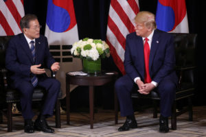 U.S. President Donald Trump holds a bilateral meeting with South Korea's President Moon Jae-in on the sidelines of the annual United Nations General Assembly in New York City, New York, U.S., September 23, 2019. Photo by Jonathan Ernst/Reuters