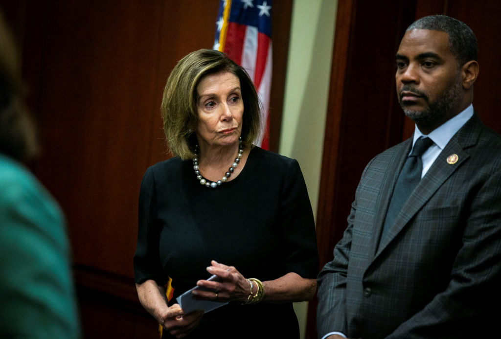 U.S. House Speaker Nancy Pelosi (D-CA) arrives during a news conference on lowering drug costs, at the U.S. Capitol in Was...