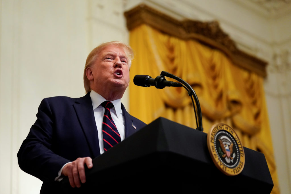 U.S. President Donald Trump speaks at the Hispanic Heritage Month reception at the White House in Washington, U.S., Septem...