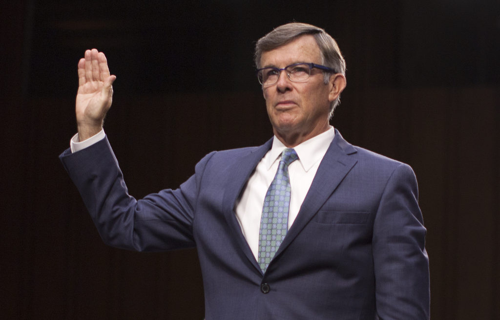 Nominee for director of the National Counterterrorism Center, Joseph Maguire, is sworn in during his confirmation hearing before the Senate Intelligence Committee on Capitol Hill in Washington, DC, on July 25, 2018. (Photo by Marcus Tappan / AFP) (Photo credit should read MARCUS TAPPAN/AFP/Getty Images)