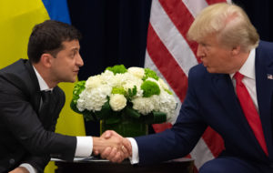 President Donald Trump and Ukrainian President Volodymyr Zelensky shake hands during a meeting in New York on the sidelines of the United Nations General Assembly. Photo by Saul Loeb/AFP/Getty Images