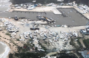 Coast Guard Air Station Clearwater forward-deployed four MH-60 Jayhawk helicopter crews in support of search and rescue and humanitarian aid in the Bahamas, Sept. 2, 2019. As Hurricane Dorian makes its way across the Bahamas, the Coast Guard is ready to assist as needed. (U.S. Coast Guard photo courtesy of Coast Guard Air Station Clearwater)