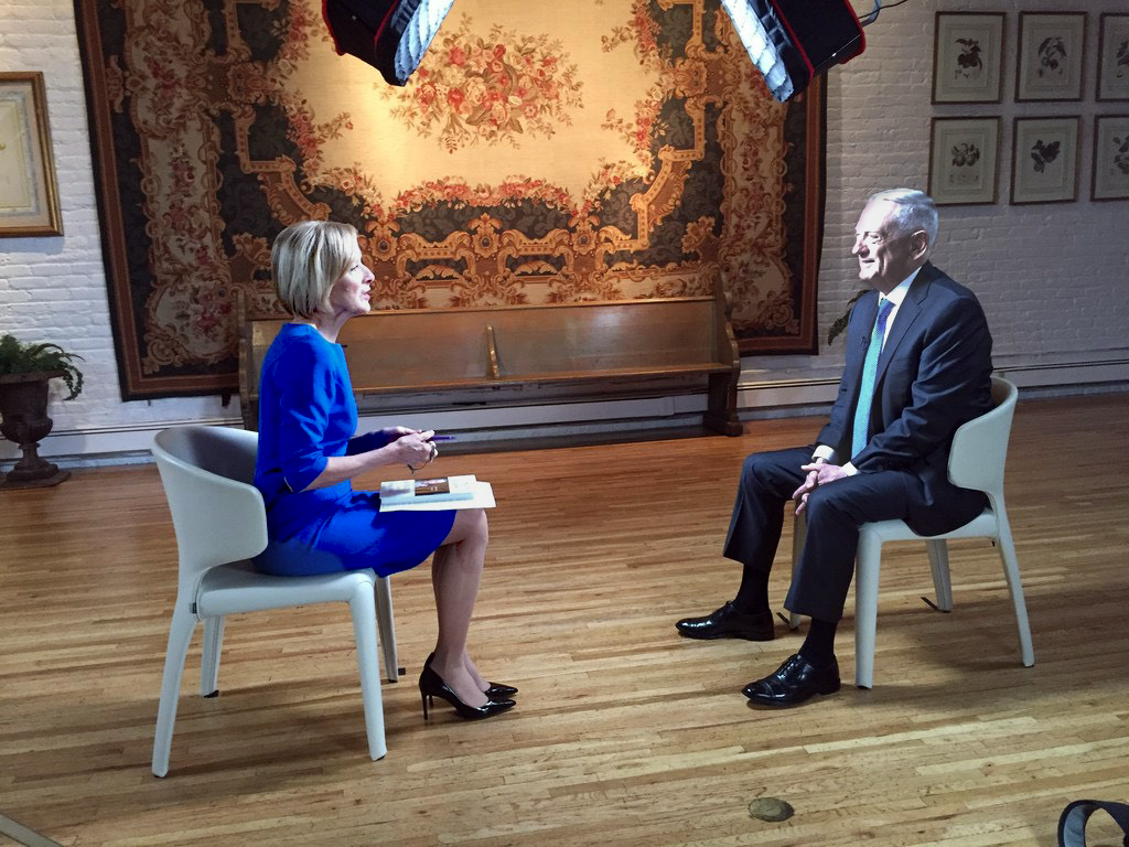 Former Defense Secretary Jim Mattis sat down for an interview with PBS NewsHour anchor and managing editor Judy Woodruff. Photo by: Dan Sagalyn/PBS NewsHour