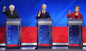 Senator Bernie Sanders, former Vice President Joe Biden and Senator Elizabeth Warren (L-R) participate in the 2020 Democratic U.S. presidential debate in Houston, Texas, U.S. September 12, 2019. REUTERS/Mike Blake - HP1EF9D06UQ5K
