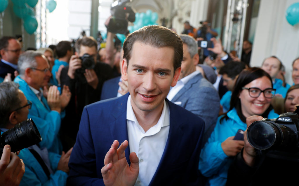 Head of Austria's Peoples Party and former Chancellor Sebastian Kurz attends the final election rally ahead of Austria's p...