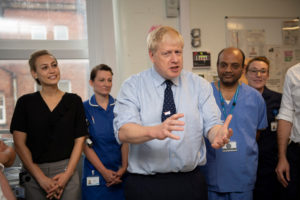Britain's Prime Minister Boris Johnson visits the North Manchester General Hospital before the start of Conservative Conference, in Manchester, Britain, on September 29, 2019.