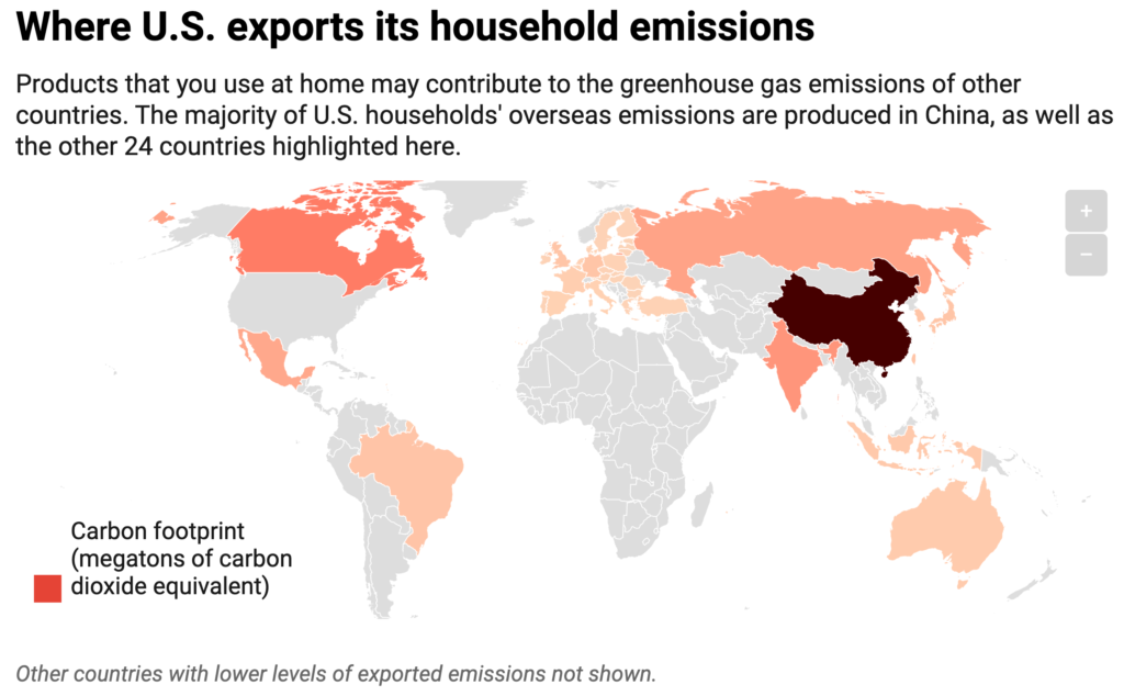 Where U.S. exports its household emissions: Products that you use at home may contribute to the greenhouse gas emissions of other countries. The majority of U.S. households' overseas emissions are produced in China, as well as the other 24 countries highlighted here.