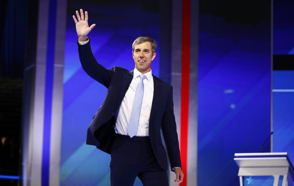 Former Rep. Beto O'Rourke takes the stage for the start of the 2020 Democratic U.S. presidential debate in Houston, Texas,...
