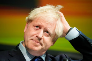 Britain's Prime Minister Boris Johnson reacts during the Convention of the North at the Magna Centre in Rotherham, Britain September 13, 2019. Photo by Christopher Furlong/Pool via REUTERS