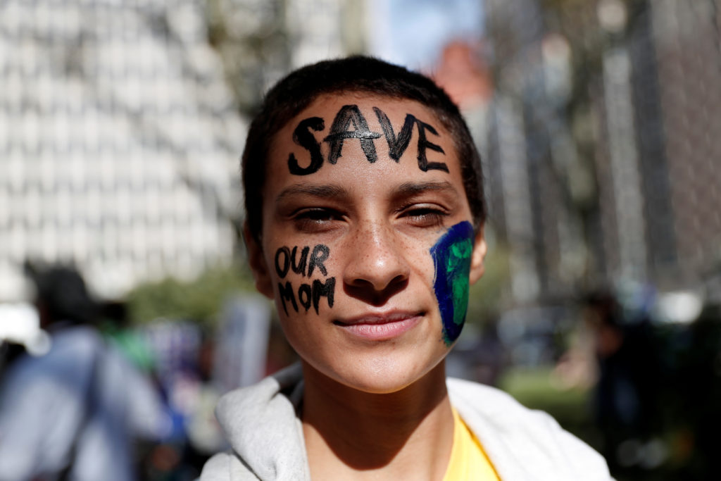 A student activist takes part in a demonstration as part of the Global Climate Strike in Manhattan in New York, U.S., September 20, 2019. Photo by REUTERS/Shannon Stapleton