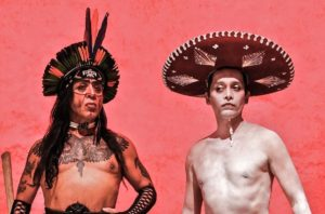 "Guillermo Gómez-Peña and Saul Garcia Lopez/La Saula in a sample photo of La Pocha Nostra's aesthetic in relation to their upcoming performance, ""Enchilada Western: A Living Museum of Fetishized Identities."" Courtesy La Pocha Nostra Archives"