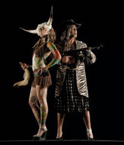 "Guillermo Gómez-Peña and a colleague in a sample photo of the troupe's aesthetic in relation to their upcoming performance, ""Enchilada Western: A Living Museum of Fetishized Identities."" Courtesy La Pocha Nostra"