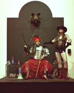 "Guillermo Gómez-Peña and a colleague in a sample photo of La Pocha Nostra's aesthetic in relation to their upcoming performance, ""Enchilada Western: A Living Museum of Fetishized Identities."" Courtesy La Pocha Nostra"