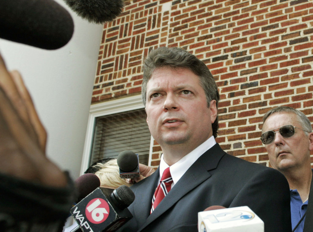 State of Mississippi Attorney General Jim Hood talks to reporters after former Ku Klux Klansman Edgar Ray Killen's sentencing in Philadelphia, in this June 23, 2005, file photo.