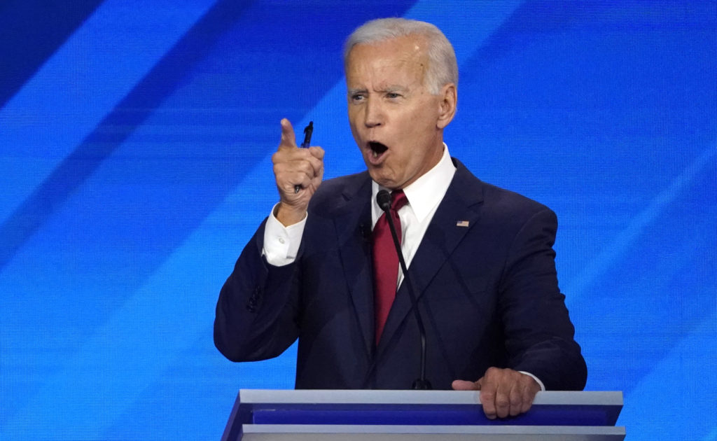 Former Vice President Joe Biden speaks during the 2020 Democratic U.S. presidential debate in Houston, Texas, U.S. September 12, 2019. REUTERS/Mike Blake