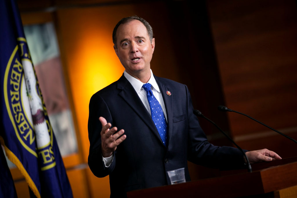 U.S. House Intelligence Committee Chairman Adam Schiff (D-CA) speaks during a news conference about impeachment proceeding...