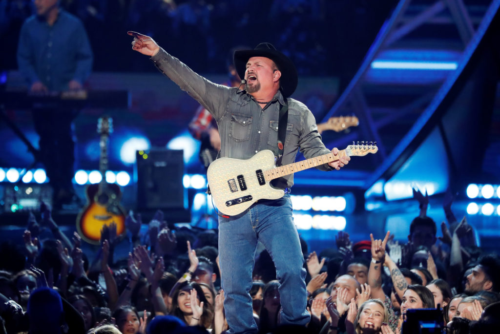 Singer Garth Brooks performs during the iHeartRadio Innovator Award…