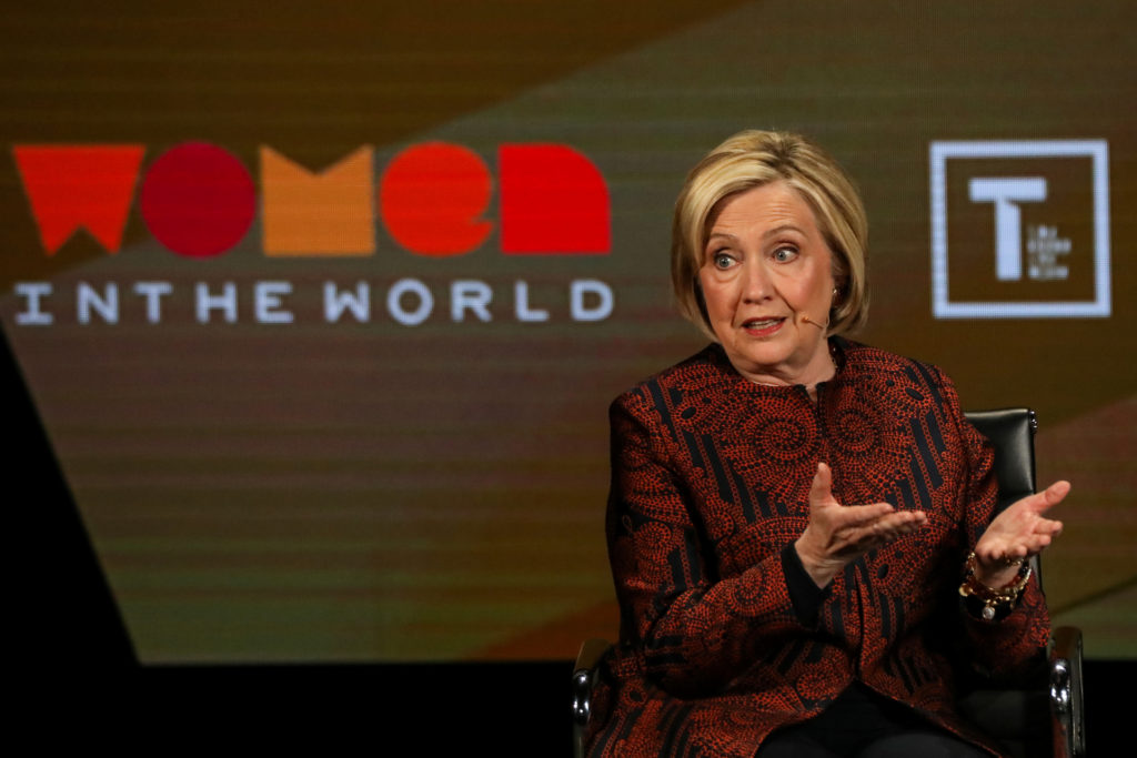 Former Secretary of State Hillary Clinton speaks on stage at the Wo…