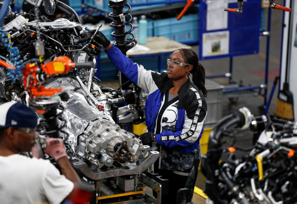 Workers build the 2020 Ford Explorer at Ford's Chicago Assembly Plant in Chicago, Illinois, U.S. June 24, 2019. Ford invested 1 billion dollars in Chicago Assembly and Stamping plants and added 500 jobs to expand capacity for the production of all-new Ford Explorer, Explorer Hybrid, Police Interceptor Utility and Lincoln Aviator. Photo by Kamil Krzaczynski/Reuters