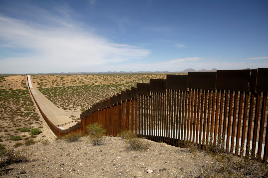 New bollard-style U.S.-Mexico border fencing is seen in Santa Teresa, New Mexico, U.S., as pictured from Ascension, Mexico August 28, 2019. The fencing replaced older-style fencing and shorter vehicle barriers. Photo by Jose Luis Gonzalez/Reuters