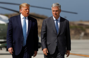 U.S. President Donald Trump walks with U.S. hostage negotiator Robert O'Brien after he named O'Brien as his fourth White House national security adviser at Los Angeles International Airport in Los Angeles, California, U.S., September 18, 2019. Photo by Tom Brenner/Reuters