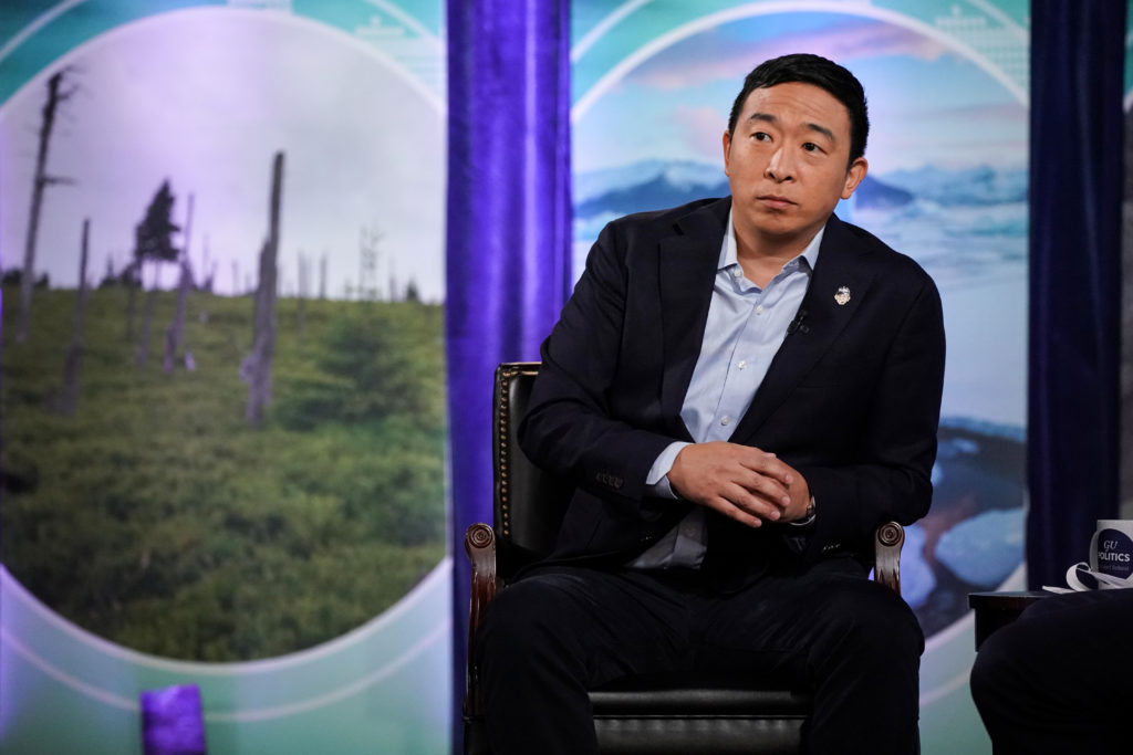 """2020 Democratic presidential candidate and founder of Venture for America, Andrew Yang, participates in the """"Climate Forum..."""